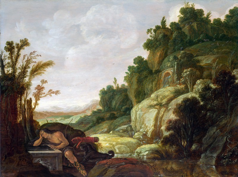 Jacob Pynas - Mountain Landscape with Narcissus. Part 4 National Gallery UK