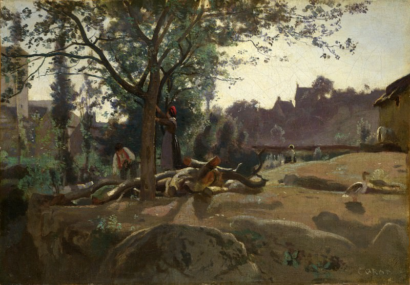 Jean-Baptiste Camille Corot - Peasants under the Trees at Dawn. Part 4 National Gallery UK