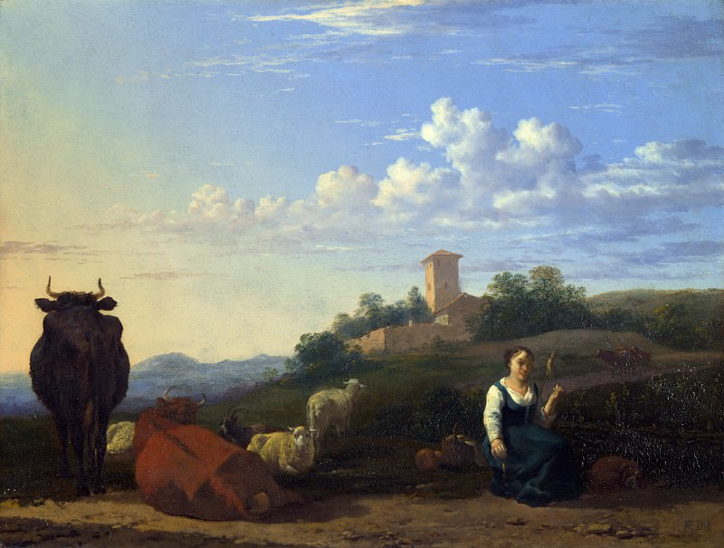 Karel Dujardin - A Woman with Cattle and Sheep in an Italian Landscape. Part 4 National Gallery UK