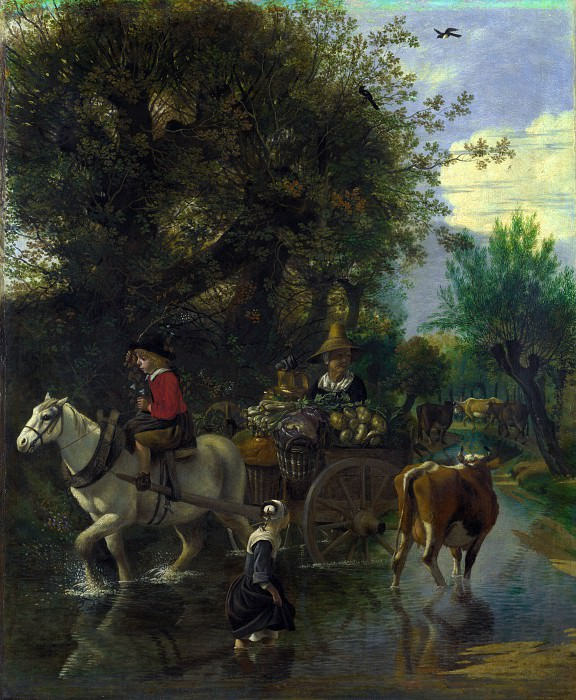 Jan Siberechts - A Cowherd passing a Horse and Cart in a Stream. Part 4 National Gallery UK