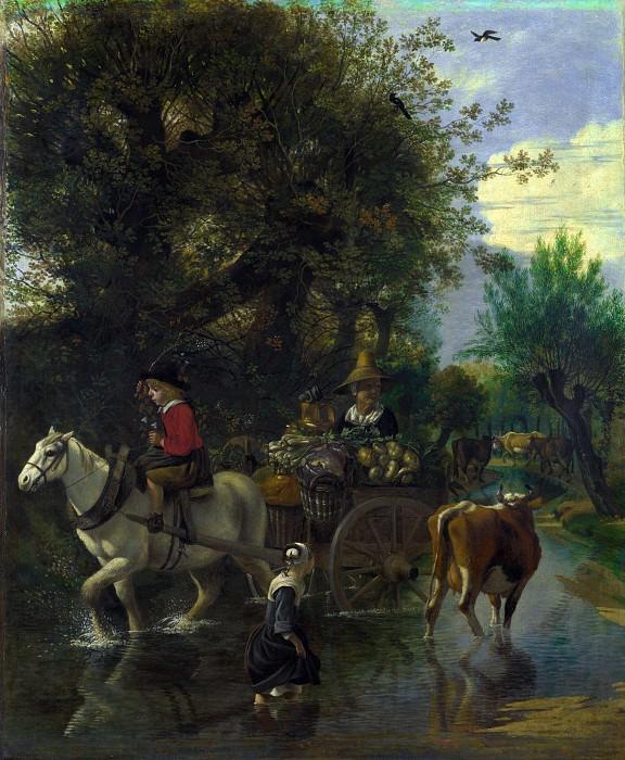 Ян Сиберехтс - Пастушка, проходящая вброд ручей мимо повозки. Часть 4 Национальная галерея