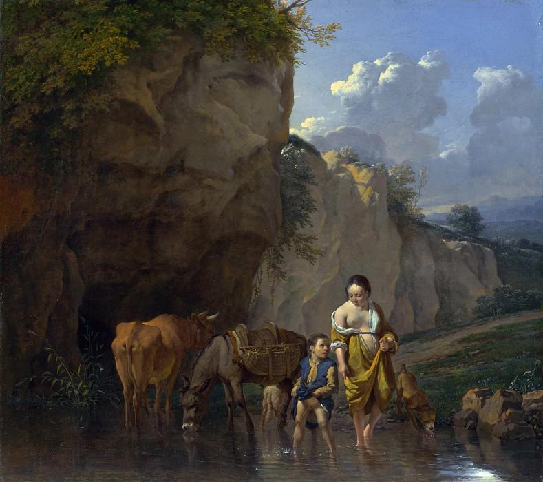 Дюжарден, Карел - Женщина и мальчик с животными в ручье. Часть 4 Национальная галерея