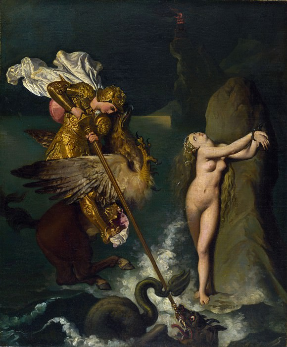 Jean-Auguste Dominique Ingres - Angelica saved by Ruggiero. Part 4 National Gallery UK