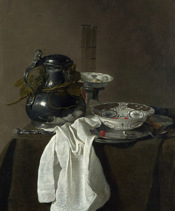 Jan Jansz. Treck - Still Life with a Pewter Flagon and Two Ming Bowls. Part 4 National Gallery UK
