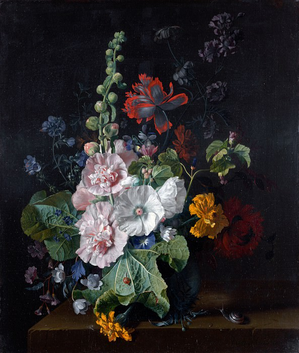 Jan van Huysum - Hollyhocks and Other Flowers in a Vase. Part 4 National Gallery UK