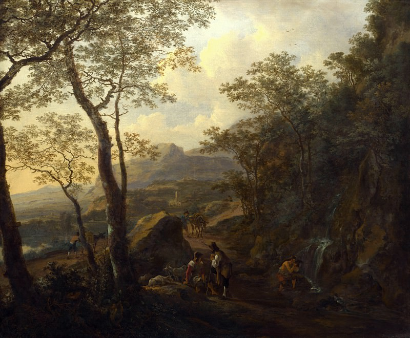 Jan Both - A Rocky Italian Landscape with Herdsmen and Muleteers. Part 4 National Gallery UK