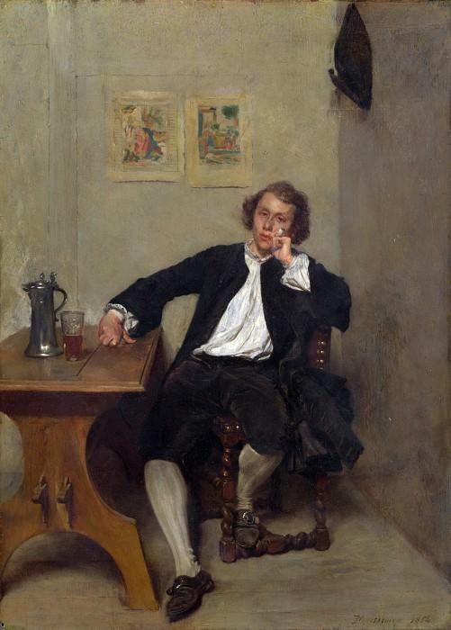 Жан-Луи-Эрнест Мессонье - Мужчина в черном, курящий трубку. Часть 4 Национальная галерея