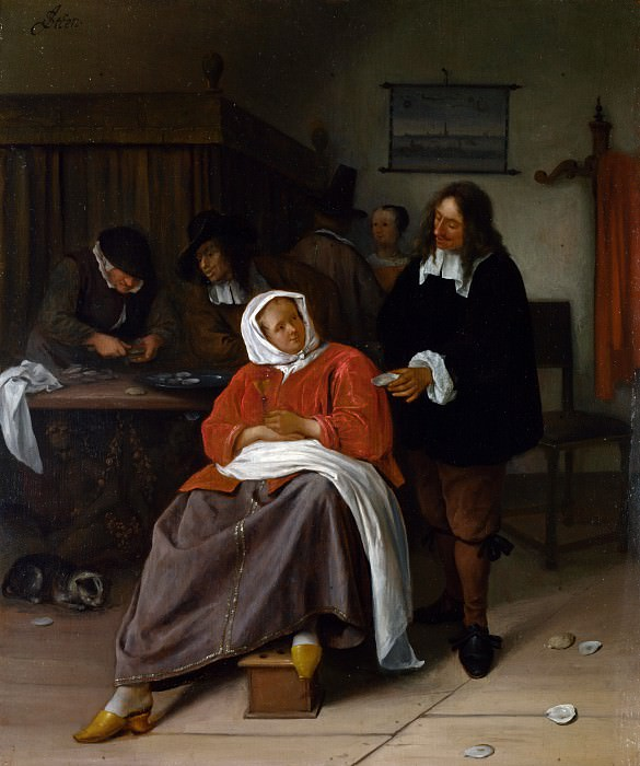 Jan Steen - An Interior with a Man offering an Oyster to a Woman. Part 4 National Gallery UK