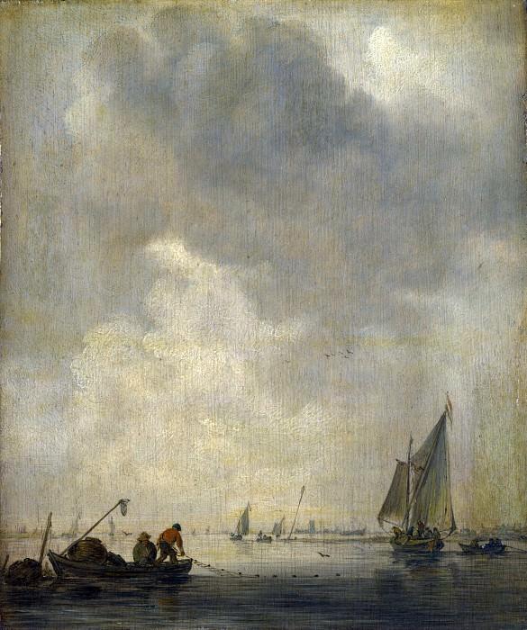 Ян ван Гойен - Речной пейзаж с рыбаком, расставляющим сети. Часть 4 Национальная галерея
