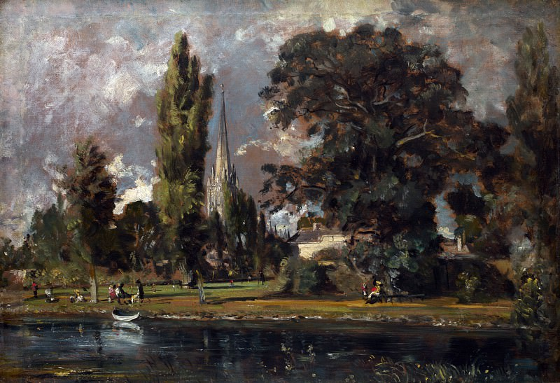 John Constable - Salisbury Cathedral and Leadenhall from the River Avon. Part 4 National Gallery UK