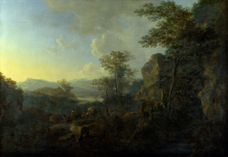 Jan Both - A Rocky Landscape with Peasants and Pack Mules. Part 4 National Gallery UK