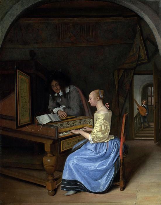 Ян Стен - Молодая женщина, играющая кавалеру на клавесине. Часть 4 Национальная галерея