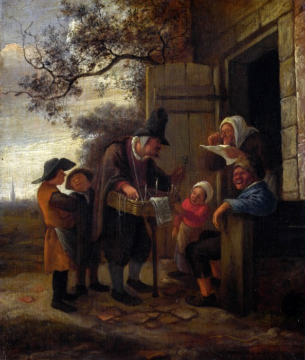 Jan Steen - A Pedlar selling Spectacles outside a Cottage. Part 4 National Gallery UK