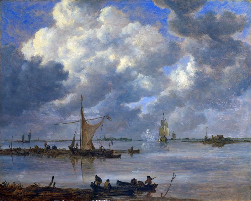 Ян ван Гойен - Устье реки с рыболовными суднами и двумя фрегатами. Часть 4 Национальная галерея