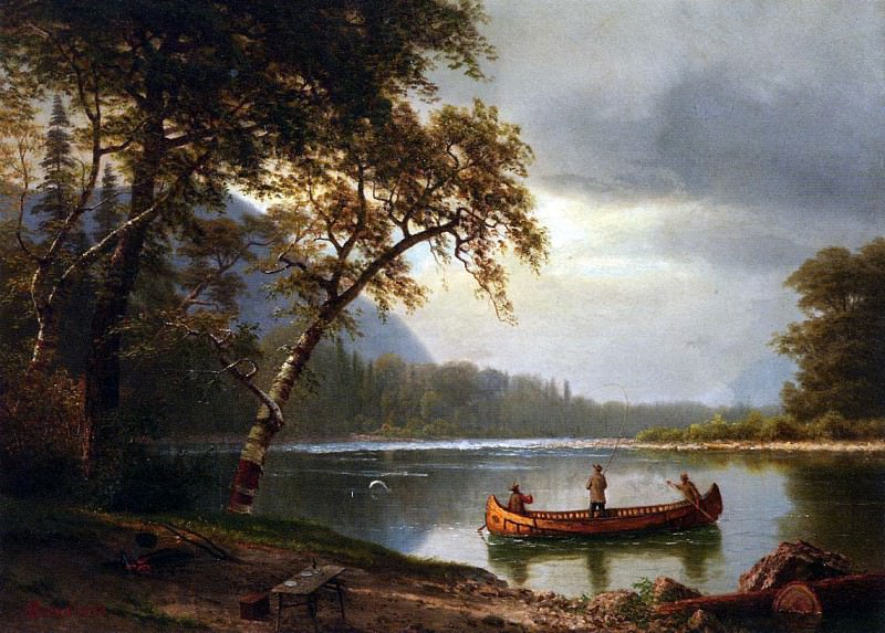Bierstadt Albert Salmon Fishing on the Cascapediac River. Albert Bierstadt
