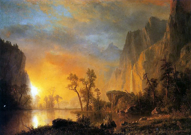 Bierstadt Albert Sunset in the Rockies. Albert Bierstadt