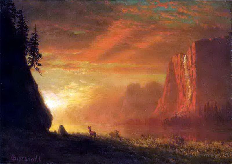Bierstadt Albert Deer at Sunset. Albert Bierstadt