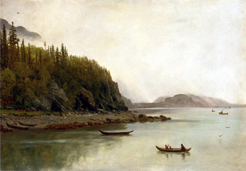 Bierstadt Albert Indians Fishing. Albert Bierstadt