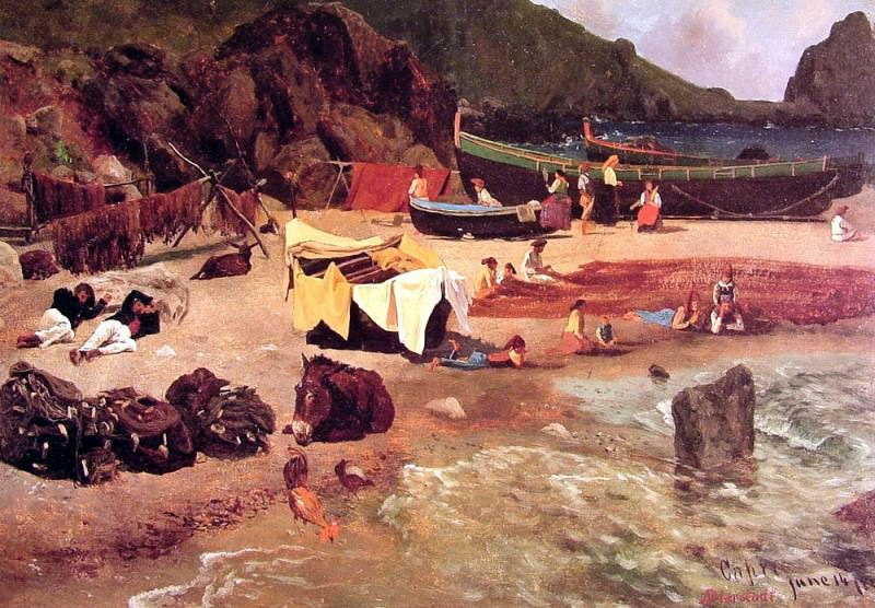 Fishing Boats at Capri. Albert Bierstadt