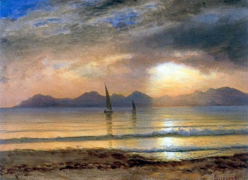 Sunset Over A Mountain Lake. Albert Bierstadt
