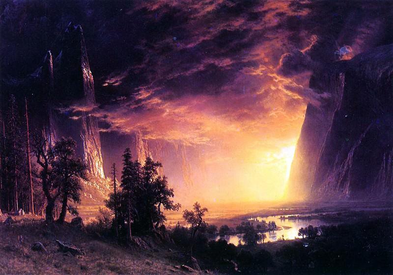 Bierstadt Albert Sunset in the Yosemite Valley. Albert Bierstadt