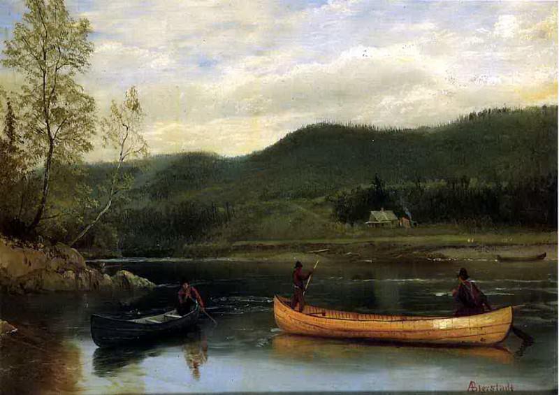 Bierstadt Albert Men in Two Canoes. Albert Bierstadt