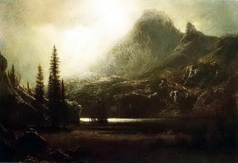Bierstadt Albert By a Mountain Lake. Albert Bierstadt
