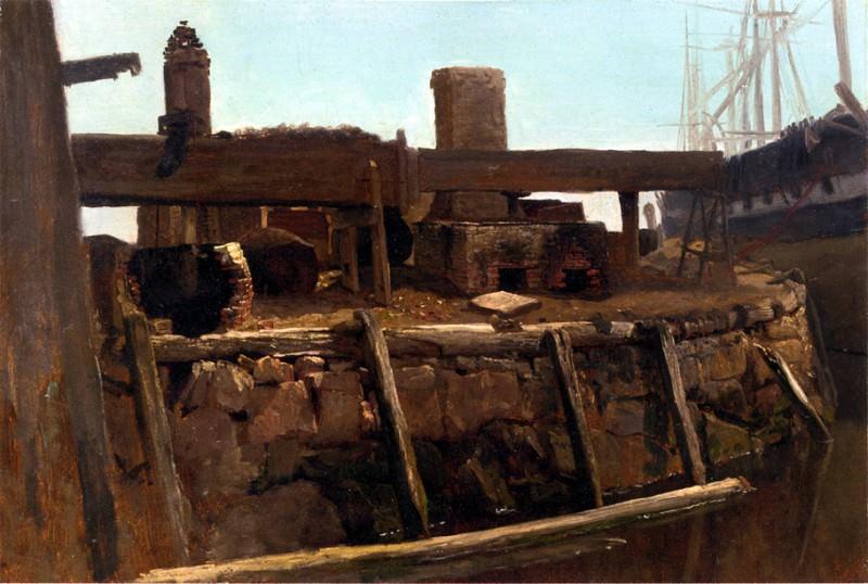 Bierstadt Albert Wharf Scene. Albert Bierstadt