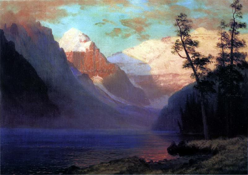 Bierstadt Albert Evening Glow Lake Louise. Albert Bierstadt