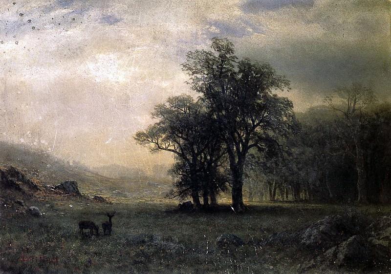 Bierstadt Albert Deer in a Landscape. Albert Bierstadt