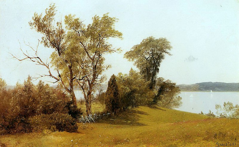 Bierstadt Albert Sailboats on the Hudson at Irvington. Albert Bierstadt
