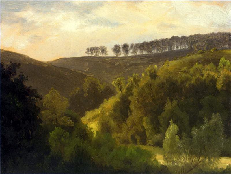 Bierstadt Albert Sunrise over Forest and Grove. Albert Bierstadt