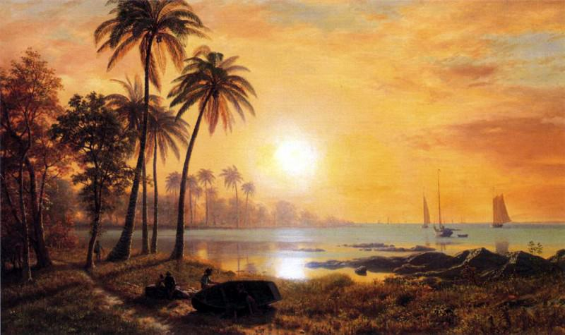 Bierstadt Albert Tropical Landscape with Fishing Boats in Bay. Albert Bierstadt