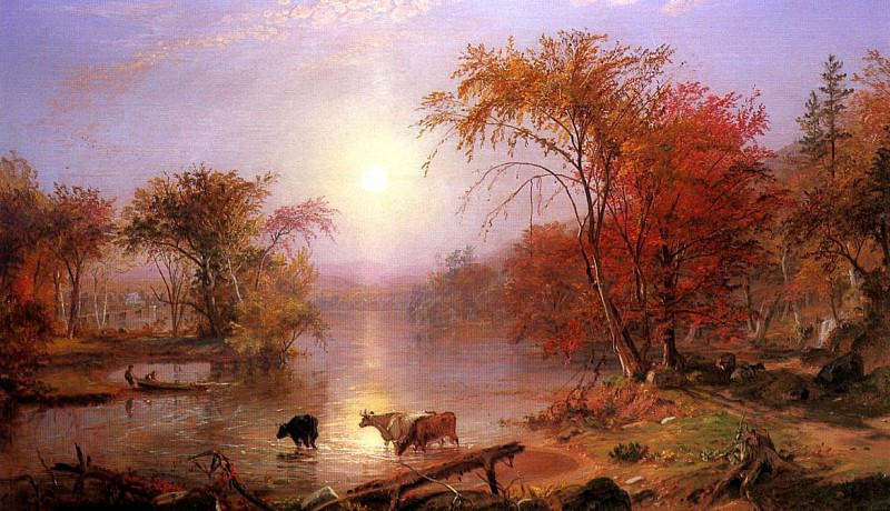 Bierstadt Albert Indian Summer Hudson River. Albert Bierstadt