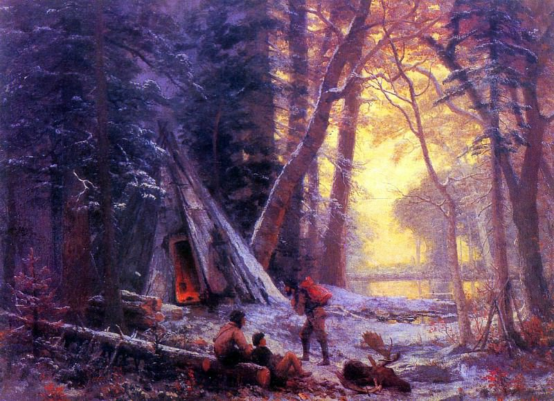 Bierstadt Albert Moose Hunters- Camp. Albert Bierstadt