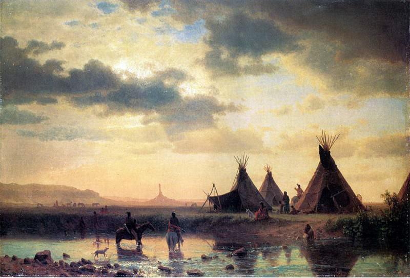 Чимни Рок, на переднем плане индейская деревня. Альберт Бирштадт