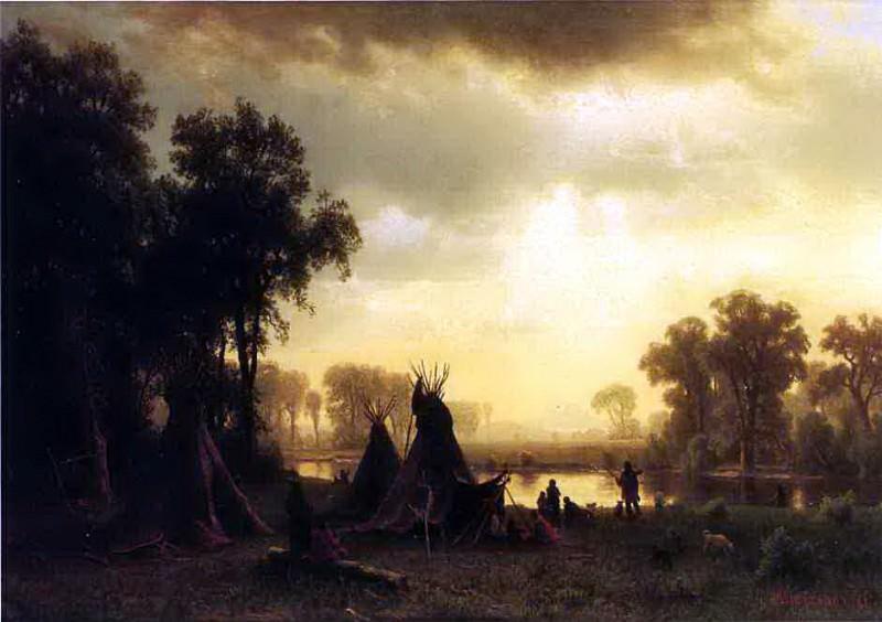 Bierstadt Albert An Indian Encampment. Albert Bierstadt