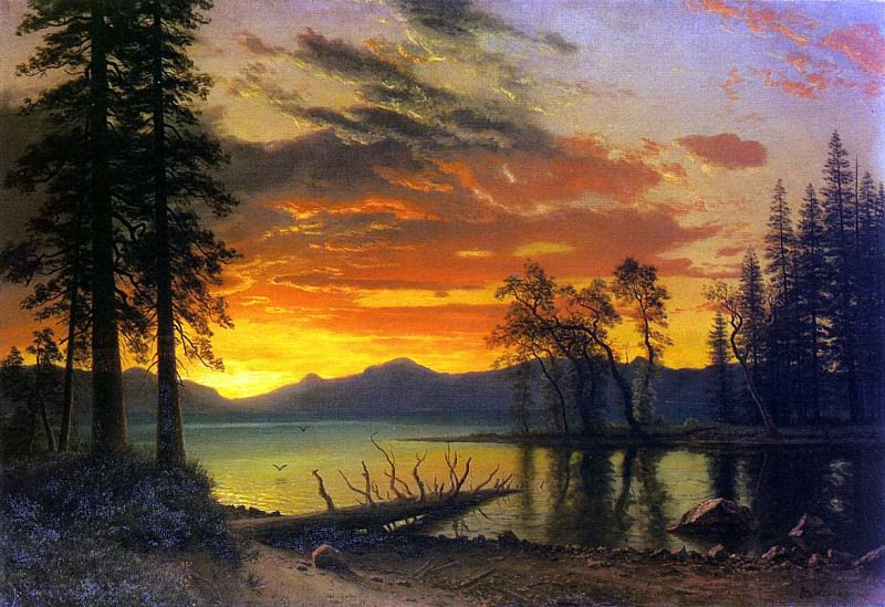 Bierstadt Albert Sunset over the River. Albert Bierstadt