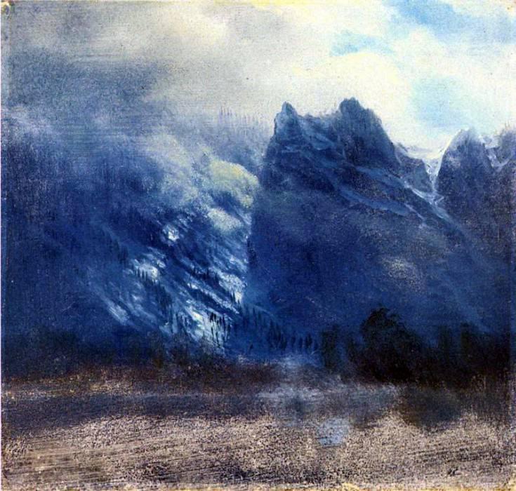 Bierstadt Albert Yosemite Valley Twin Peaks. Albert Bierstadt