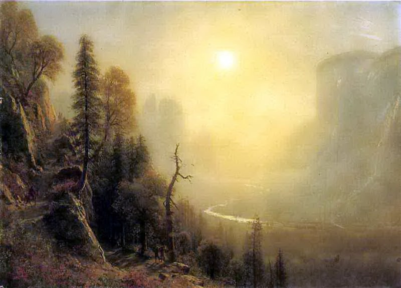 Study for Yosemite Valley Glacier Point Trail. Albert Bierstadt