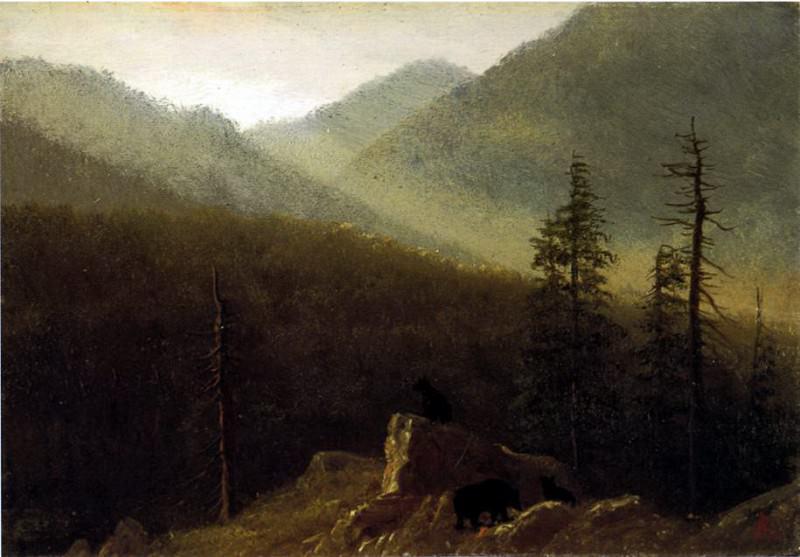 Bierstadt Albert Bears in the Wilderness. Albert Bierstadt