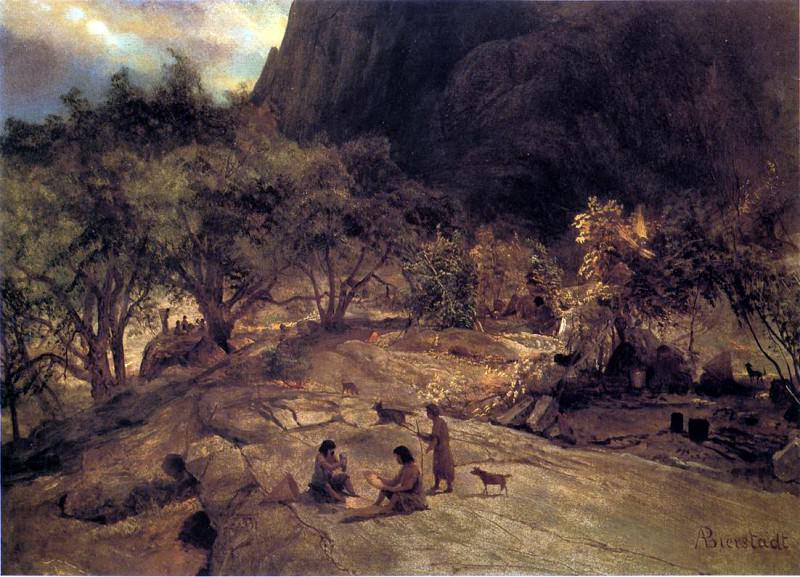Bierstadt Albert Mariposa Indian Encampment Yosemite Valley California. Albert Bierstadt