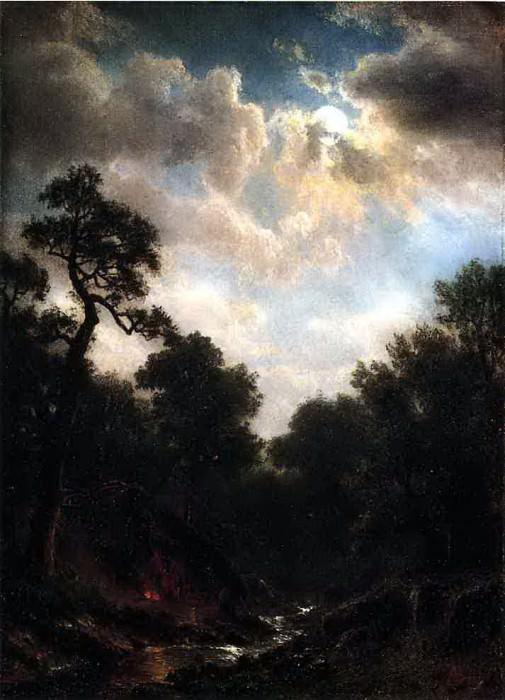 Bierstadt Albert Moonlit Landscape. Albert Bierstadt