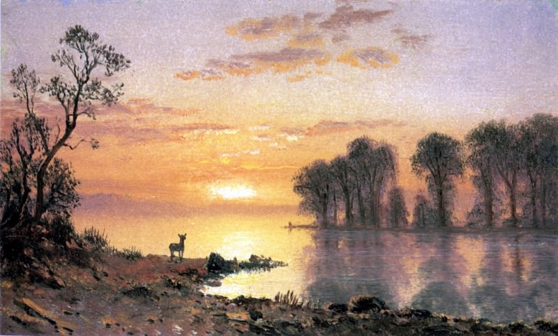 Bierstadt Albert Sunset Deer and River. Albert Bierstadt