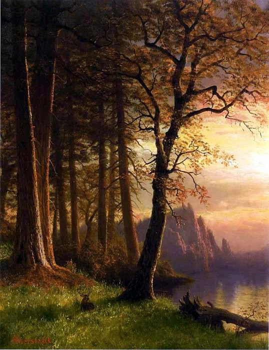 Bierstadt Albert Sunset in California Yosemite. Albert Bierstadt