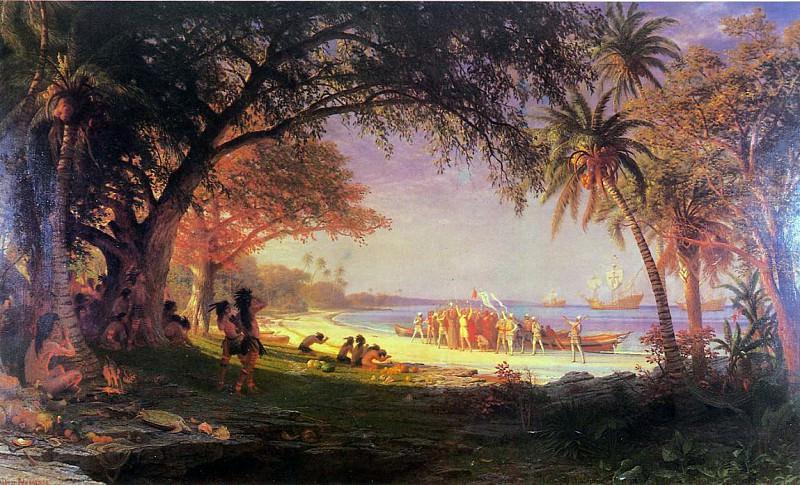 Bierstadt Albert The Landing of Columbus. Albert Bierstadt