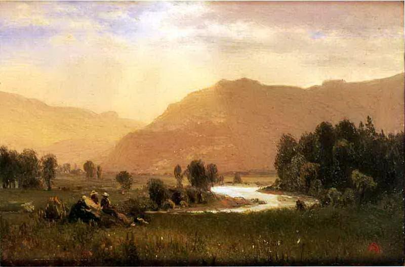 Bierstadt Albert Figures in a Hudson River Landscape. Albert Bierstadt