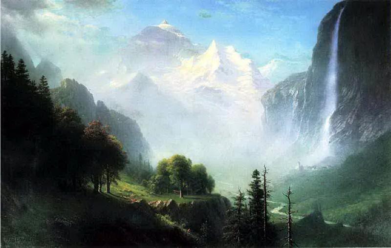 Bierstadt Albert Staubbach Falls Near Lauterbrunnen Switzerland. Albert Bierstadt