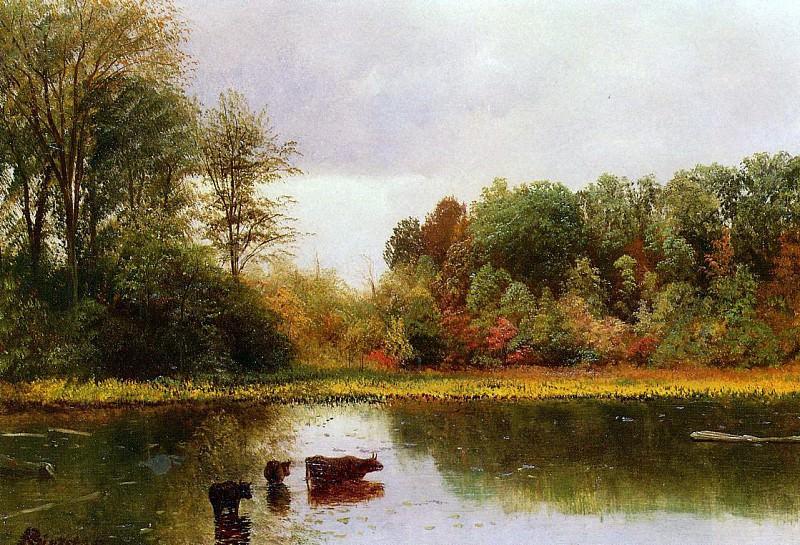 Bierstadt Albert Cows Watering in a Landscape. Albert Bierstadt