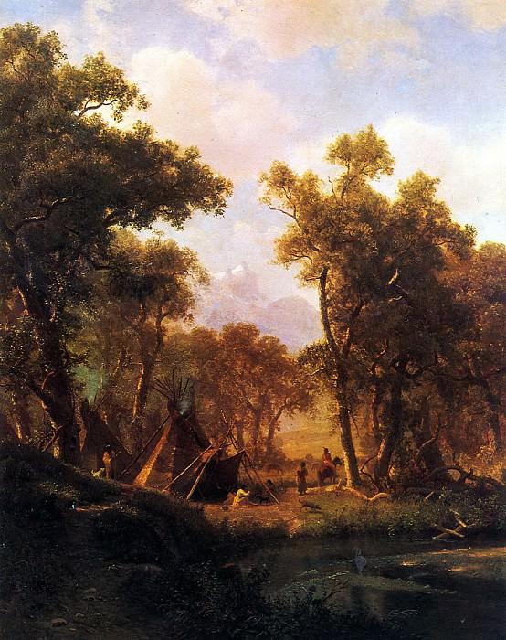 Bierstadt Albert Indian Encampment Shoshone Village. Albert Bierstadt